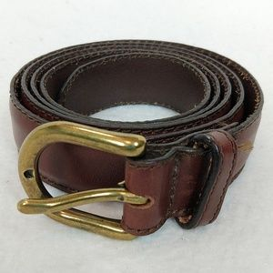 Gap Genuine Cow Leather Belt Brown Gold Buckle Lrg